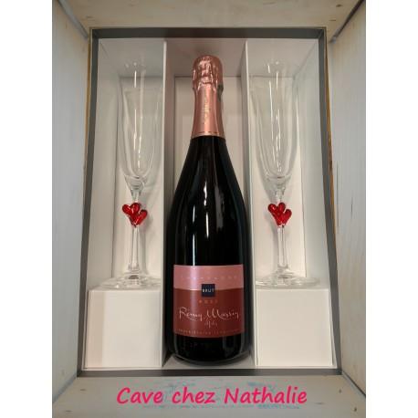 Coffret Champagne Rosé R.Massin 75cl + 2 flûtes Saint-Valentin